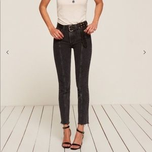 NWOT reformation seam straight leg black jean